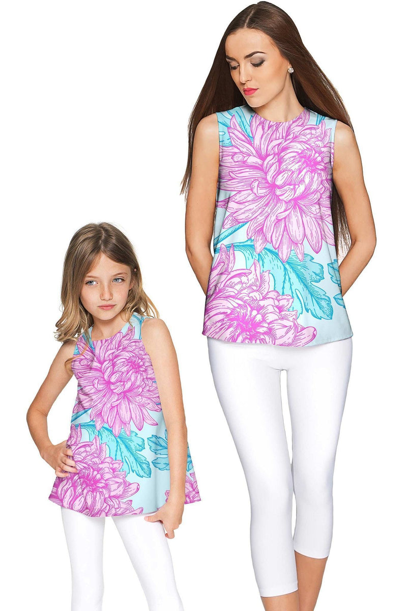 Floral Bliss Emily Pink & Blue Cute Sleeveless Eco Top - Girls-Floral Bliss-18M/2-Blue/Pink-JadeMoghul Inc.
