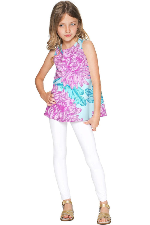 Floral Bliss Emily Pink & Blue Cute Sleeveless Eco Top - Girls-Floral Bliss-JadeMoghul Inc.