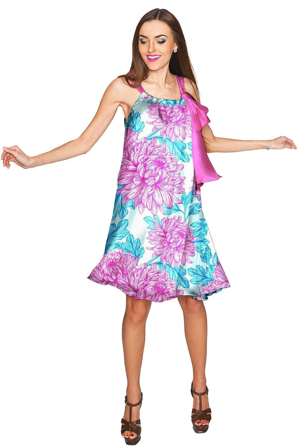 Floral Bliss Melody Swing Halter Chiffon Dress - Women-Floral Bliss-XS-Blue/Pink-JadeMoghul Inc.