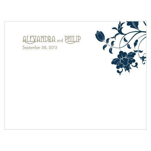 Floral Orchestra Note Card Vintage Pink (Pack of 1)-Weddingstar-Navy Blue-JadeMoghul Inc.