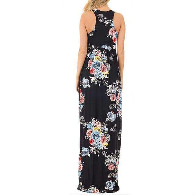 Floral Printed O-neck Maxi Dress - Casual Long Dress-Black Printed-S-JadeMoghul Inc.