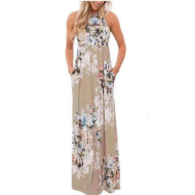 Floral Printed O-neck Maxi Dress - Casual Long Dress-Khaki Printed-S-JadeMoghul Inc.