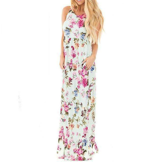 Floral Printed O-neck Maxi Dress - Casual Long Dress-Light Green Printed-S-JadeMoghul Inc.