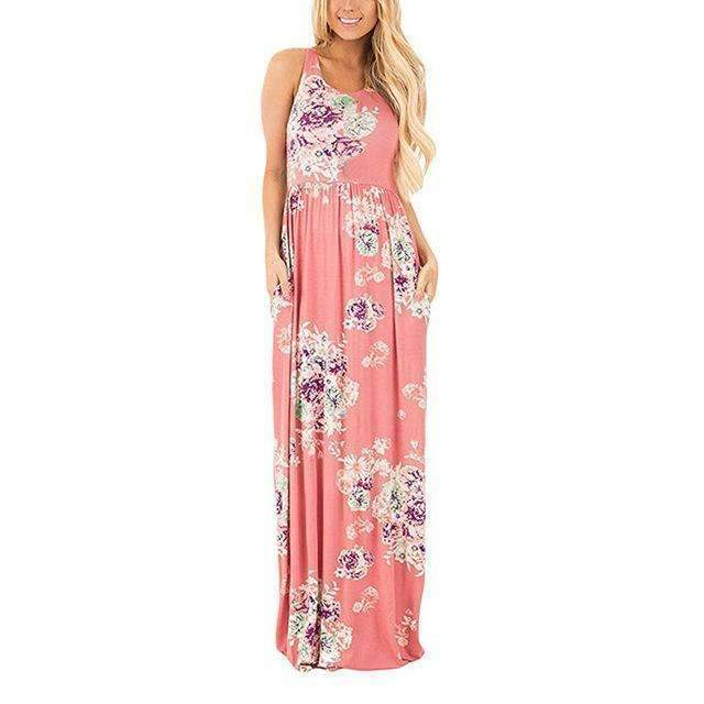 Floral Printed O-neck Maxi Dress - Casual Long Dress-Pink Printed-S-JadeMoghul Inc.