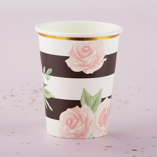 Floral Striped Paper Cups (Set of 8)-Wedding Reception Decorations-JadeMoghul Inc.