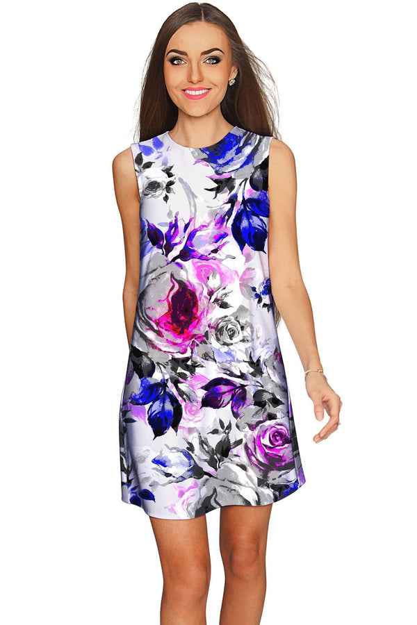 Floral Touch Adele Grey Print Party Mini Shift Dress - Women-Floral Touch-XS-Grey/Purple/Pink-JadeMoghul Inc.