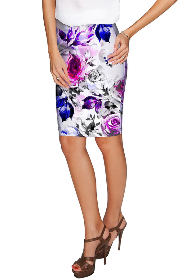 Floral Touch Carol Grey Fancy Club Pencil Skirt - Women-Floral Touch-XS-Grey/Purple/Pink-JadeMoghul Inc.
