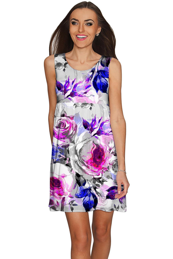 Floral Touch Sanibel Empire Waist Pretty Grey Dress - Women-Floral Touch-XS-Grey/Purple/Pink-JadeMoghul Inc.