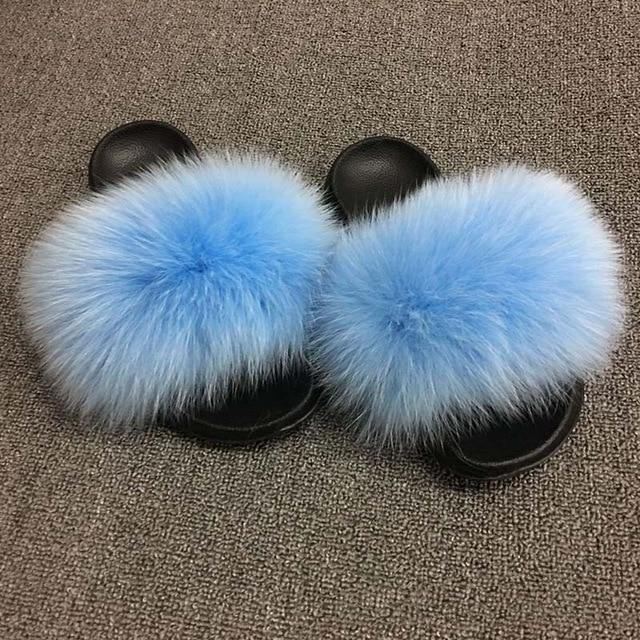Fluffy Faux Fur Slippers-Raccoon color-11-JadeMoghul Inc.