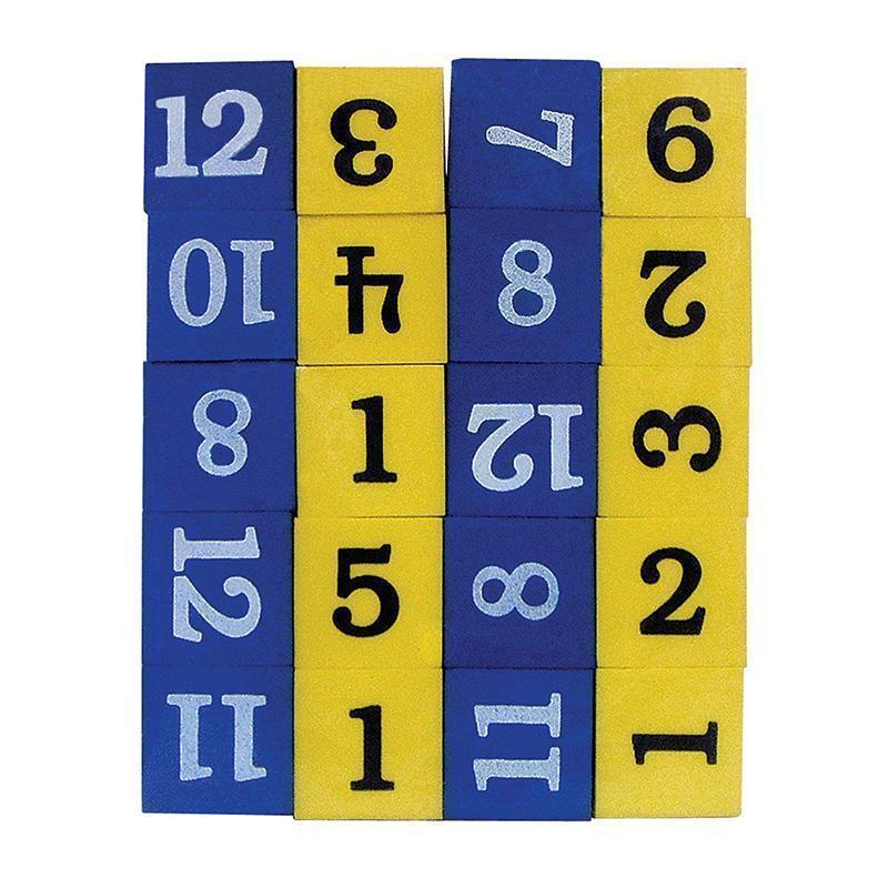 FOAM NUMBERED DICE NUMERALS 1-12-Learning Materials-JadeMoghul Inc.