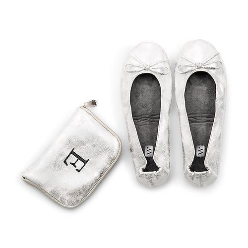 Foldable Flats Pocket Shoes - Silver Small (Pack of 1)-Personalized Gifts for Women-JadeMoghul Inc.