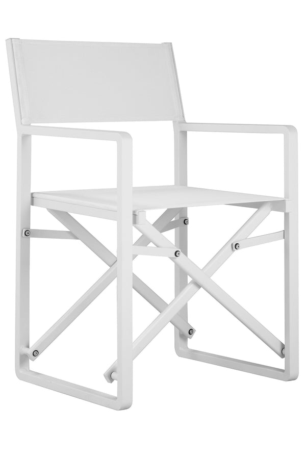 Foldable Metal Directors Chairs with Fabric Seat and Back, White, Set of Two-Patio Furniture-White-Aluminum and Textilene Fabric-JadeMoghul Inc.
