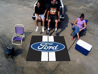FORD Sports - Ford Oval with Stripes Tailgater Rug 5'x6' - Black-Tailgater Mat-JadeMoghul Inc.