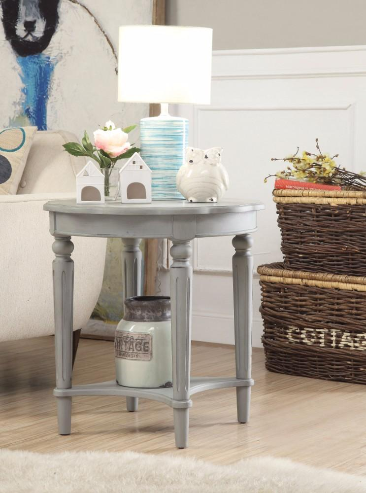 Fordon End Table, Antiqued Slate-Side Tables and End Tables-Antique Slate-MDF Solid Wood Leg-JadeMoghul Inc.