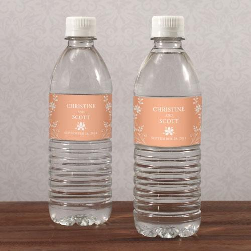 Forget Me Not Water Bottle Label Ruby (Pack of 1)-Wedding Ceremony Stationery-Peach-JadeMoghul Inc.