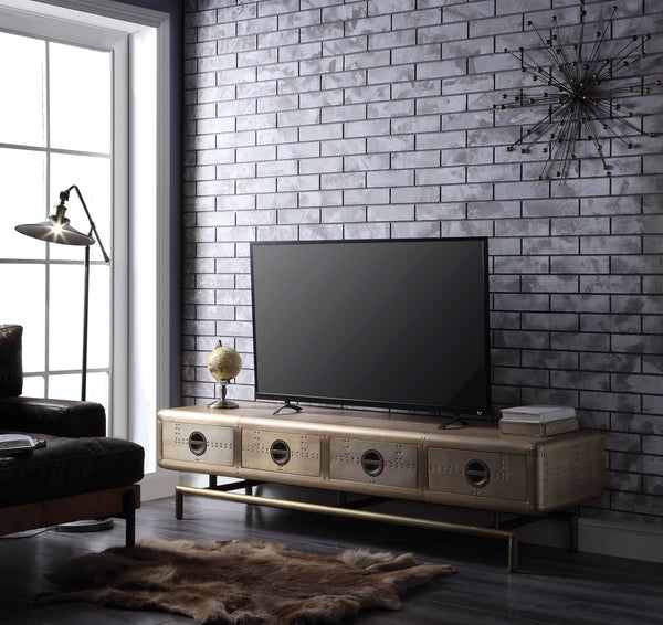 Four Drawers Wooden TV Stand with Metal Base and Aluminum Patchwork, Gold-Media Storage Cabinets & Racks-Gold-Aluminum, Metal, Engineered Wood-JadeMoghul Inc.