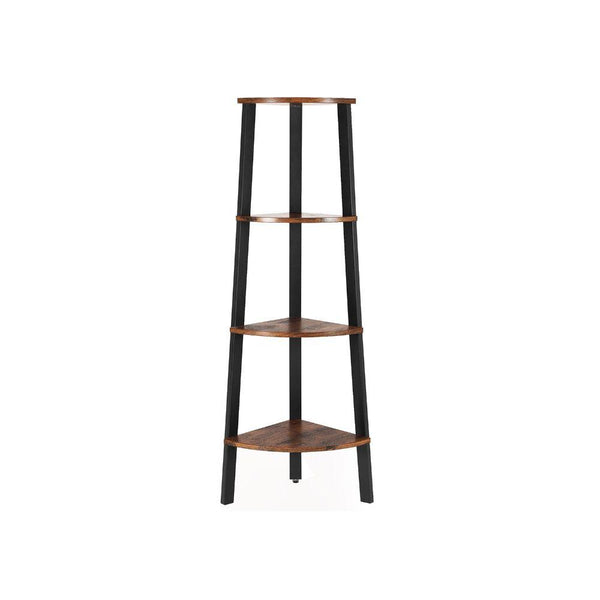 Four Tier Ladder Style Wooden Corner Shelf with Iron Framework, Brown and Black