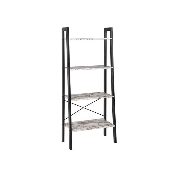 Four Tiered Faux Marble Ladder Shelf with Iron Framework, White and Black
