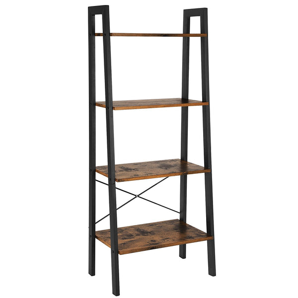 Four Tiered Rustic Wooden Ladder Shelf with Iron Framework, Brown and Black
