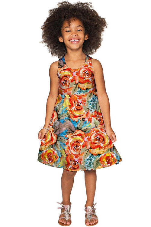 Fox Sanibel Yellow Flower Pattern Empire Dress - Girls-Fox-JadeMoghul Inc.