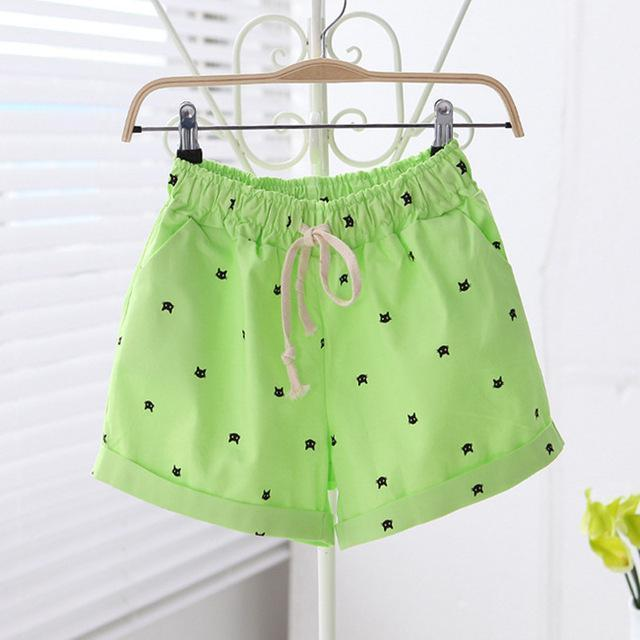 Free shipping 2016 New Summer Shorts With Cats Pattern High Waist Elastic Cotton Short Fresh Floral Women Shorts Feminino A212-212green-One Size-JadeMoghul Inc.