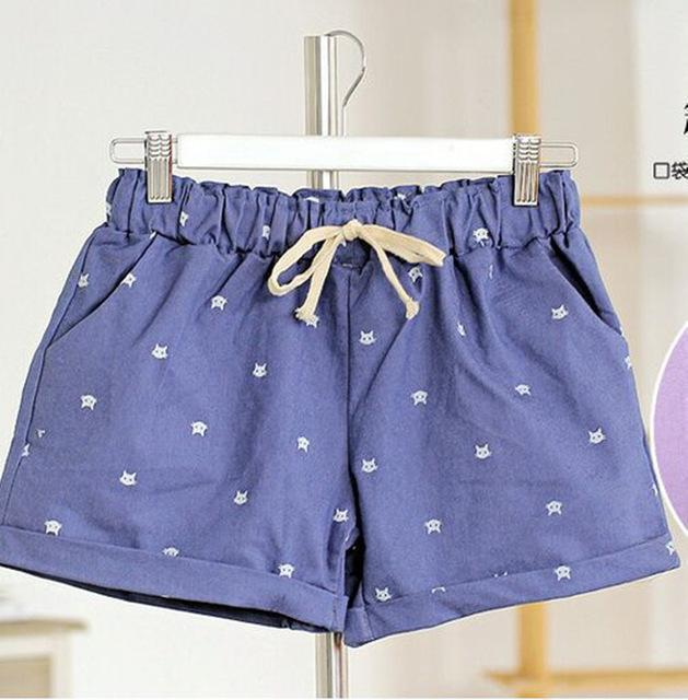 Free shipping 2016 New Summer Shorts With Cats Pattern High Waist Elastic Cotton Short Fresh Floral Women Shorts Feminino A212-212jeanblue-One Size-JadeMoghul Inc.