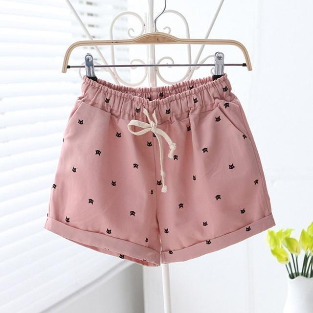 Free shipping 2016 New Summer Shorts With Cats Pattern High Waist Elastic Cotton Short Fresh Floral Women Shorts Feminino A212-212pink-One Size-JadeMoghul Inc.