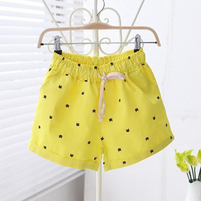 Free shipping 2016 New Summer Shorts With Cats Pattern High Waist Elastic Cotton Short Fresh Floral Women Shorts Feminino A212-212yellow-One Size-JadeMoghul Inc.