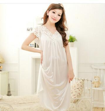 Free shipping women lace sexy nightdress girls plus size bathrobe Large size Sleepwear nightgown Y02-3-As the photo show 4-L-JadeMoghul Inc.
