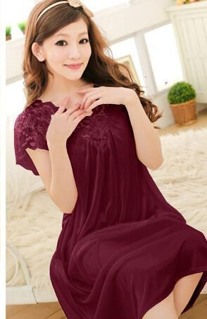 Free shipping women lace sexy nightdress girls plus size bathrobe Large size Sleepwear nightgown Y02-3-As the photo show 5-L-JadeMoghul Inc.