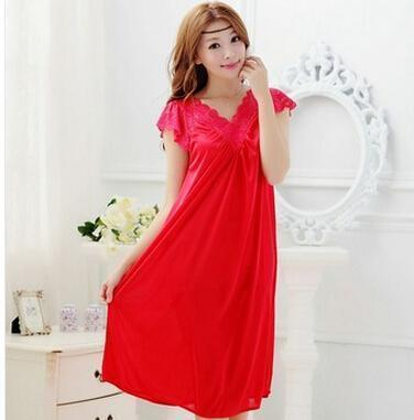 Free shipping women lace sexy nightdress girls plus size bathrobe Large size Sleepwear nightgown Y02-3-As the photo show 8-L-JadeMoghul Inc.
