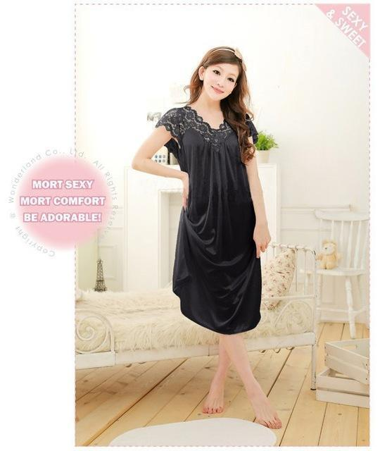 Free shipping women lace sexy nightdress girls plus size bathrobe Large size Sleepwear nightgown Y02-3-As the photo show-L-JadeMoghul Inc.