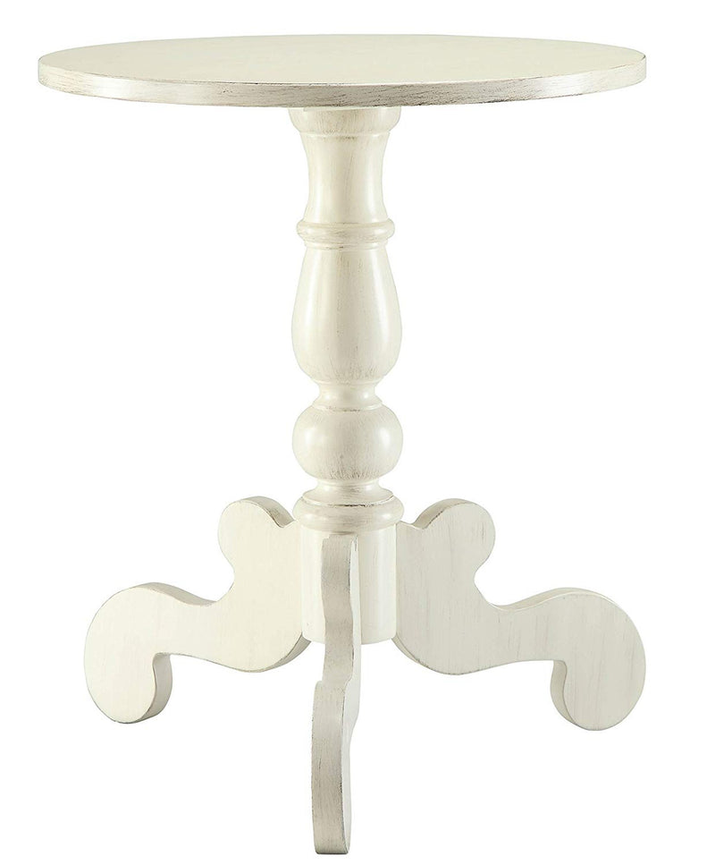 Freida End Table, Antique White-Side Tables and End Tables-Antiqued White-MDF Solid Wood Leg-JadeMoghul Inc.
