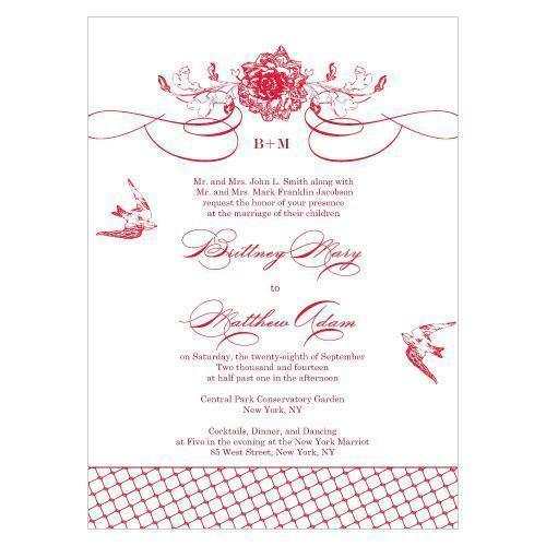 French Whimsy Invitation Vintage Pink (Pack of 1)-Invitations & Stationery Essentials-Red-JadeMoghul Inc.