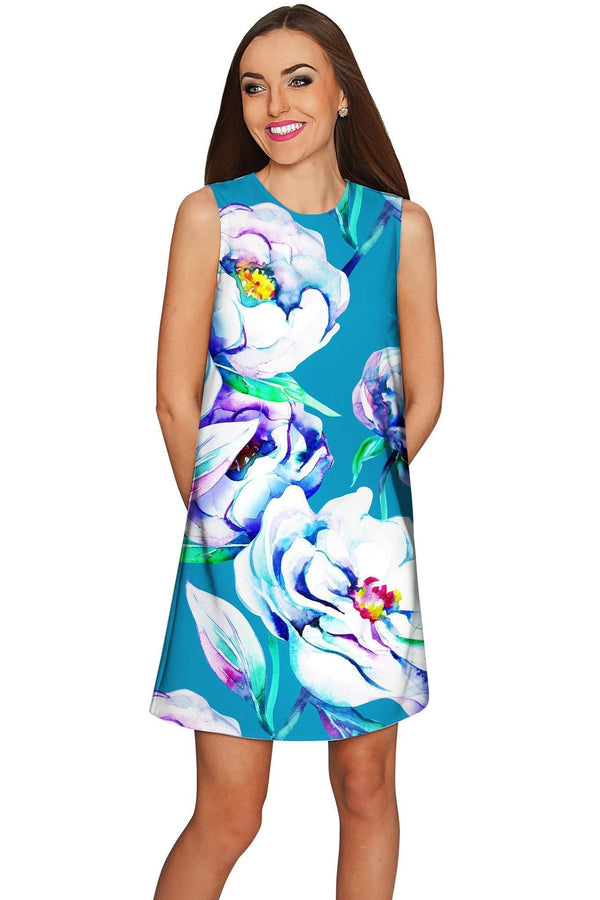 Gentle You Adele Elegant Blue Floral Shift Dress - Women-Gentle You-XS-Blue/Green/Purple-JadeMoghul Inc.
