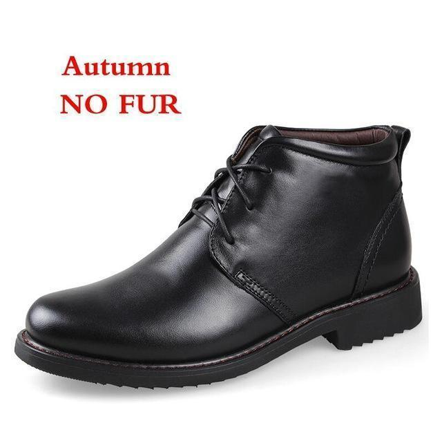 Genuine Leather Men Boots / Handmade Warm Winter Shoes-black no fur-6.5-JadeMoghul Inc.