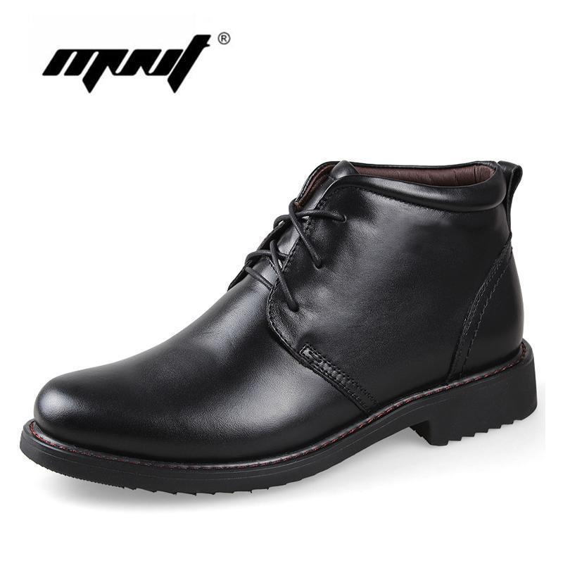 Genuine Leather Men Boots / Handmade Warm Winter Shoes-black with fur-6.5-JadeMoghul Inc.