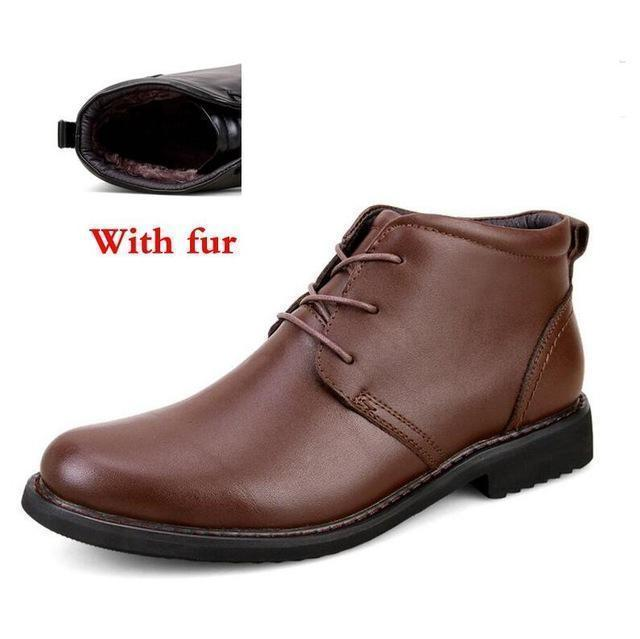 Genuine Leather Men Boots / Handmade Warm Winter Shoes-brown with fur-6.5-JadeMoghul Inc.