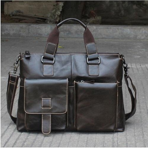 Genuine Leather Men Briefcases / Computer Laptop Business Bag-260 oil green-China-JadeMoghul Inc.