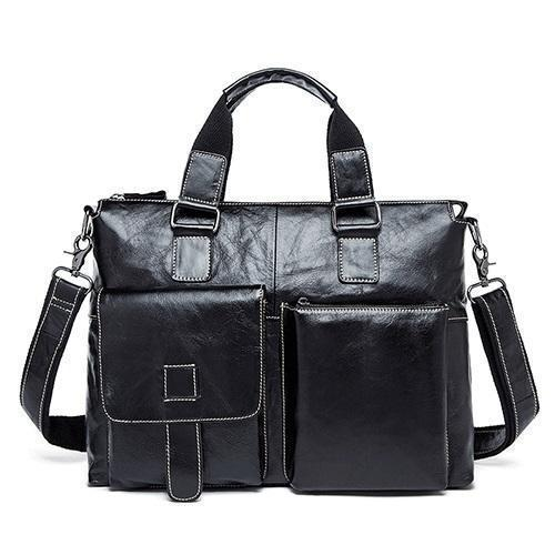 Genuine Leather Men Briefcases / Computer Laptop Business Bag-260black-white-China-JadeMoghul Inc.