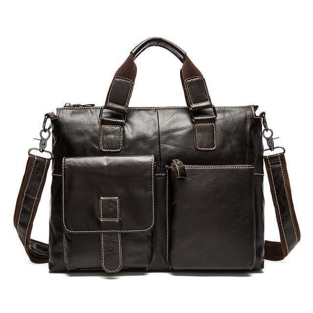 Genuine Leather Men Briefcases / Computer Laptop Business Bag-260BUcoffeeyapiu-China-JadeMoghul Inc.