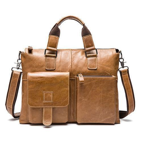 Genuine Leather Men Briefcases / Computer Laptop Business Bag-260yellow brown-China-JadeMoghul Inc.