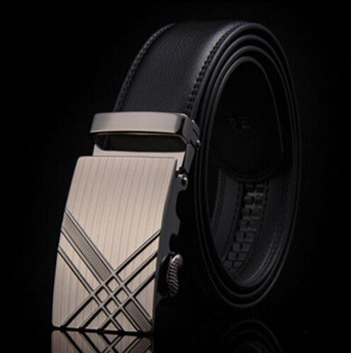 Genuine Luxury Leather Men Belt / Metal Automatic Buckle-D-110cm-JadeMoghul Inc.