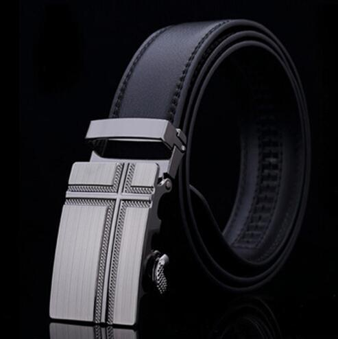 Genuine Luxury Leather Men Belt / Metal Automatic Buckle-F-110cm-JadeMoghul Inc.