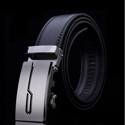 Genuine Luxury Leather Men Belt / Metal Automatic Buckle-G-110cm-JadeMoghul Inc.