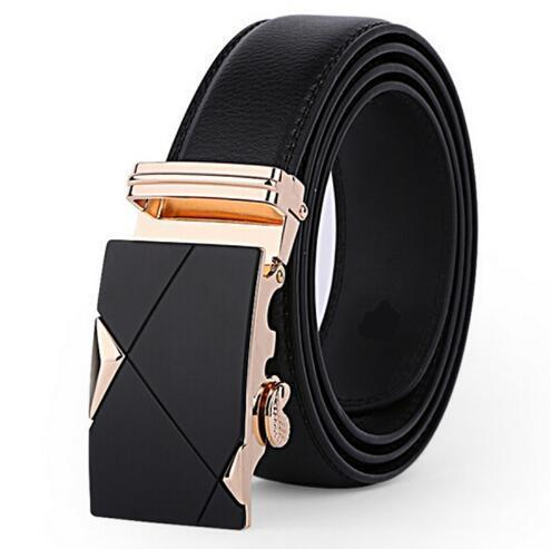 Genuine Luxury Leather Men Belt / Metal Automatic Buckle-K golden-110cm-JadeMoghul Inc.
