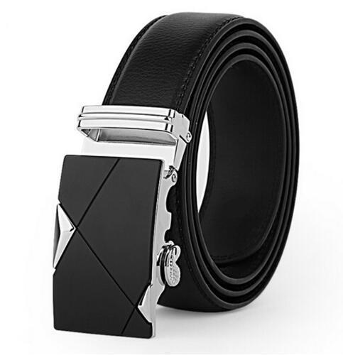 Genuine Luxury Leather Men Belt / Metal Automatic Buckle-K silver-110cm-JadeMoghul Inc.