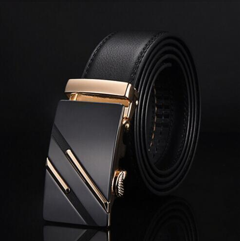 Genuine Luxury Leather Men Belt / Metal Automatic Buckle-S golden-110cm-JadeMoghul Inc.