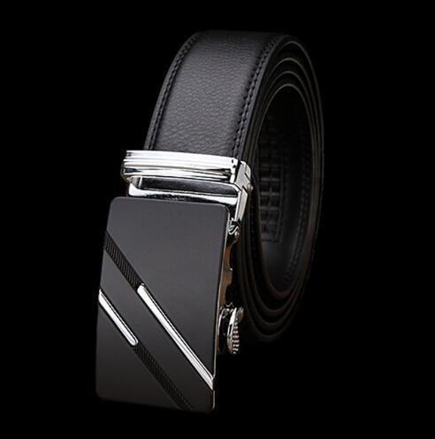 Genuine Luxury Leather Men Belt / Metal Automatic Buckle-S silver-110cm-JadeMoghul Inc.
