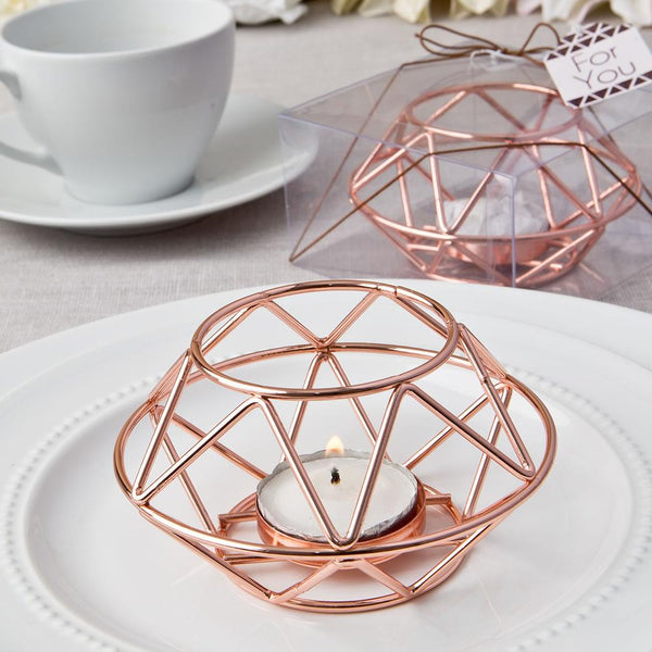 Geometric design rose gold metal tealight candle holder from fashioncraft-Wedding Reception Decorations-JadeMoghul Inc.